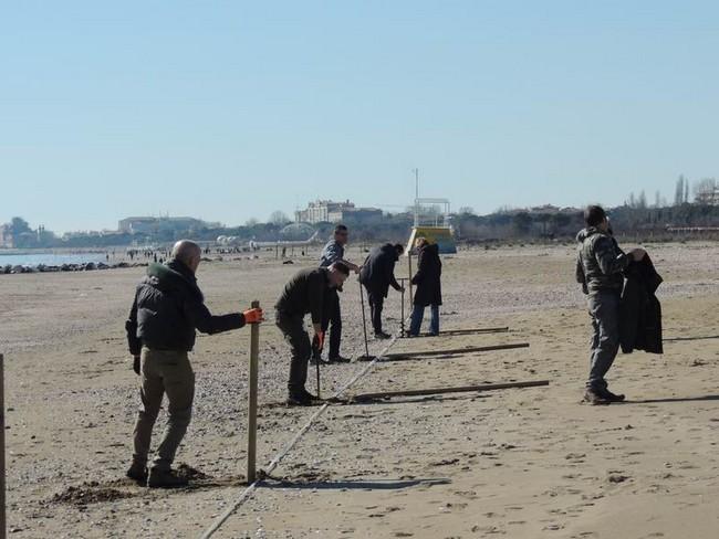 Volontari al lavoro sulla spiaggia del Lido di Venezia